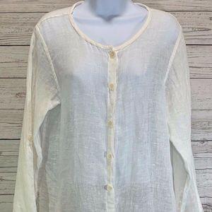 Flax Cream Tunic 100% Linen Tunic Top Shirt